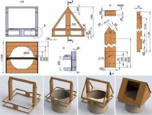Крыша для колодца схема