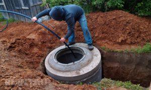 Монтаж кессона из бетонных колец
