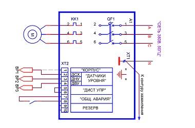 Схема насосной станции с датчиками