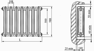 Чугунный радиатор (схема)