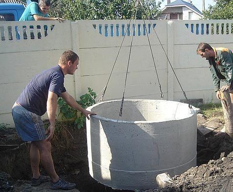 Опускание кольца в яму