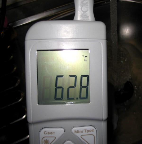 Измерение температуры горячей воды
