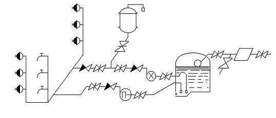 Схема пожарного водопровода с водонапорным и пневматическим баками