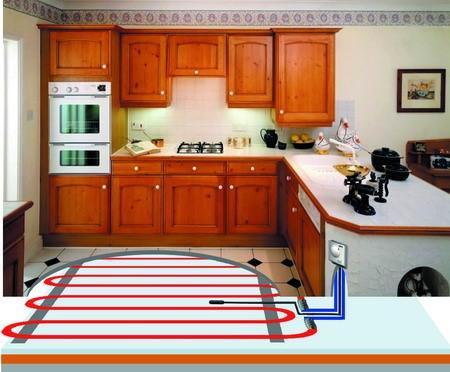 Теплый пол под плиткой на кухне