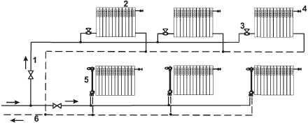 Двухтрубная система отопления (схема с нижней разводкой)