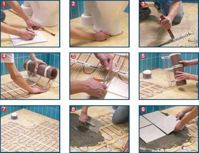 Поэтапная схема укладки теплого пола под плитку