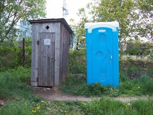 Самодельная и покупная кабинки туалета