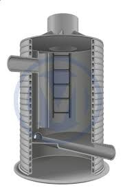 Колодец для труб, расположенных на разных уровнях